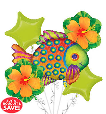 Foil Prismatic Tropical Fish Balloon Bouquet 5pc