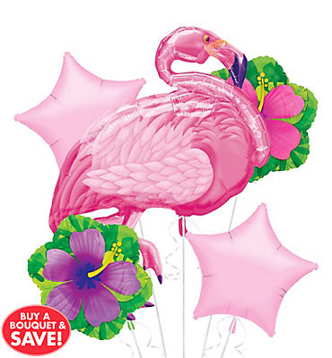 Foil Pink Flamingo Balloon Bouquet 5pc