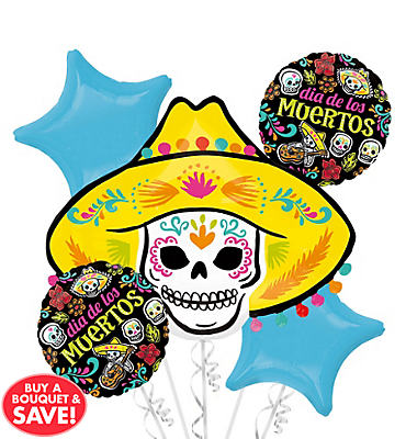 Sugar Skull Halloween Balloon Bouquet 5pc