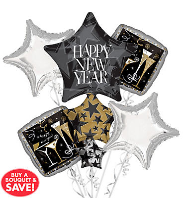 Foil Star Stack New Years Balloon Bouquet 5pc
