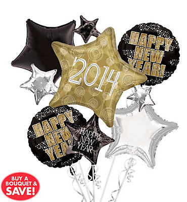 2013 Star Cluster New Years Balloon Bouquet 5pc