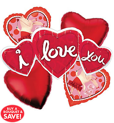 Foil Love Heart Trio Valentines Day Balloon Bouquet 5pc