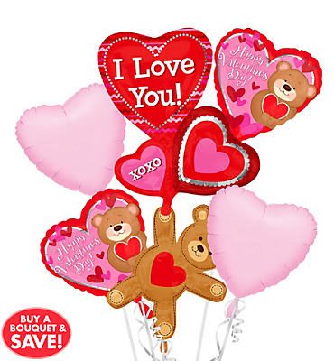 Foil Love Bear Valentines Day Balloon Bouquet 5pc