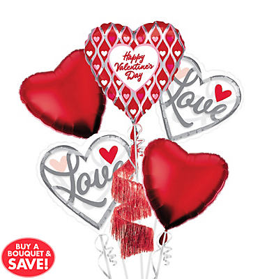 Happy Valentine's Day Floating Hearts Coil Tail Airwalker Balloon Bouquet 5pc