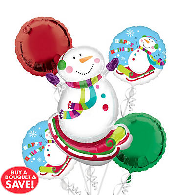 Foil Joyful Snowman Balloon Bouquet 5pc