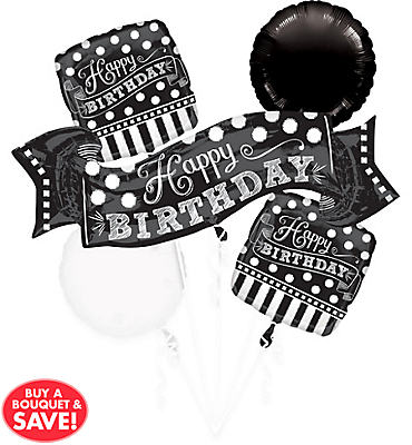 Black & White Birthday Balloon Bouquet 5pc