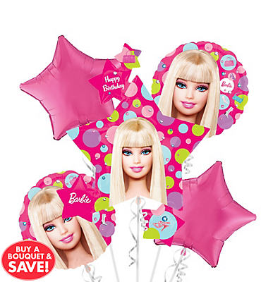 Happy Birthday Barbie Balloon Bouquet 5pc - Star Cluster