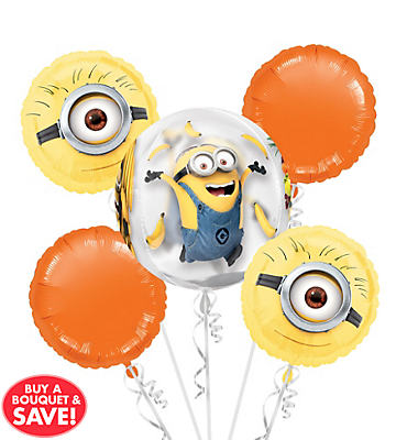 Minion Balloon Bouquet 5pc - Orbz Despicable Me