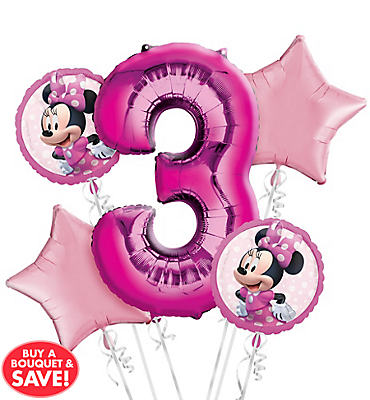 Minnie Mouse 3rd Birthday Balloon Bouquet 5pc