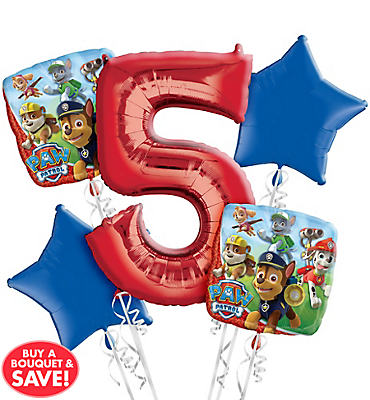 PAW Patrol 5th Birthday Balloon Bouquet 5pc