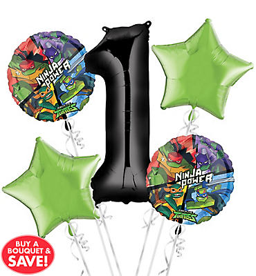 Teenage Mutant Ninja Turtles 1st Birthday Balloon Bouquet 5pc