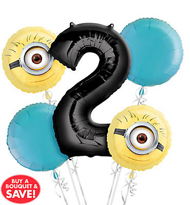 Despicable Me 2nd Birthday Balloon Bouquet 5pc