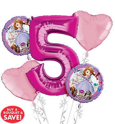 Sofia the First 5th Birthday Balloon Bouquet 5pc