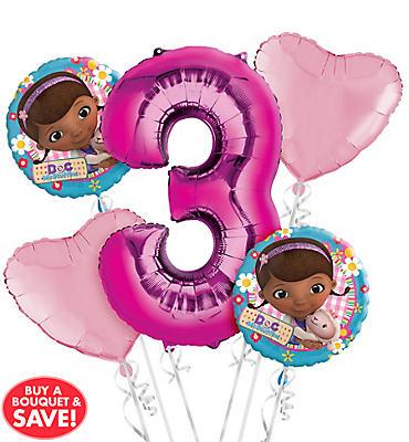 Doc McStuffins 3rd Birthday Balloon Bouquet 5pc