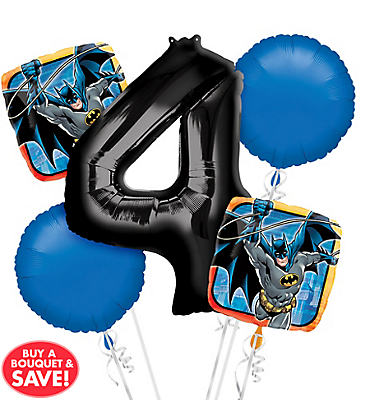 Batman 4th Birthday Balloon Bouquet 5pc