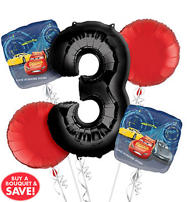 Cars 3rd Birthday Balloon Bouquet 5pc