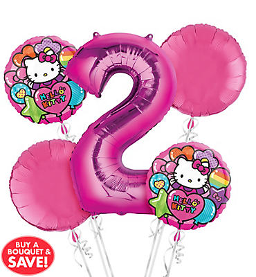 Rainbow Hello Kitty 2nd Birthday Balloon Bouquet 5pc
