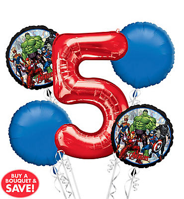 Avengers 5th Birthday Balloon Bouquet 5pc
