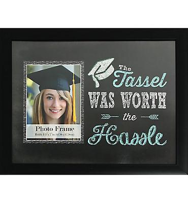Black The Tassel Was Worth the Hassel Graduation Photo Frame
