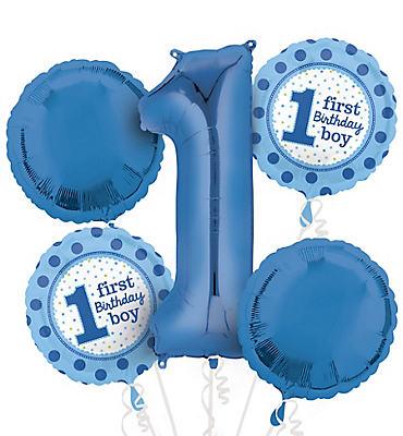 1st Birthday Balloon Bouquet 5pc - Polka Dot Boy