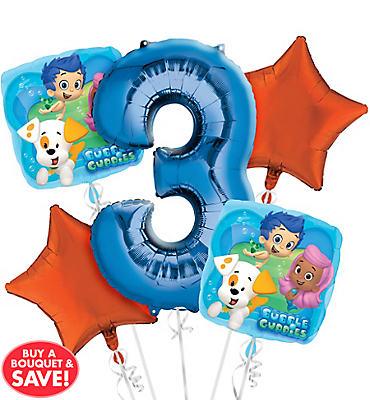 Bubble Guppies 3rd Birthday Balloon Bouquet 5pc