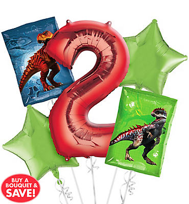 Prehistoric Dinosaurs 2nd Birthday Balloon Bouquet 5pc
