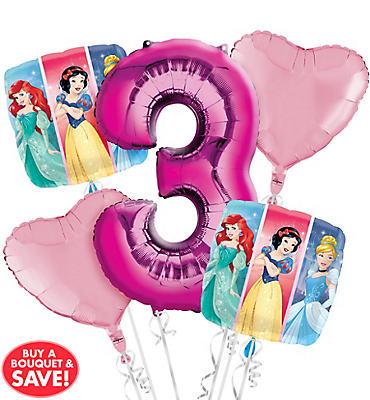 Disney Princess 3rd Birthday Balloon Bouquet 5pc
