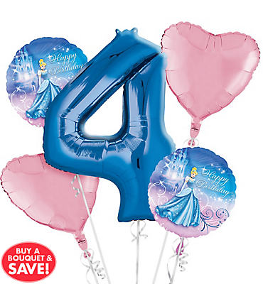 Cinderella 4th Birthday Balloon Bouquet 5pc
