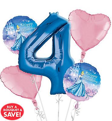 Cinderella 4th Birthday Balloon Bouquet 5pc