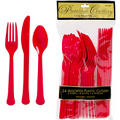Red Premium Plastic Cutlery Set 24ct
