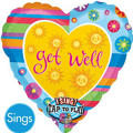 Get Well Stripes Singing Foil Balloon 28in