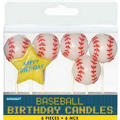 Baseball Birthday Candles 6ct