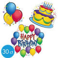 Balloon Fun Happy Birthday Cutouts Value Pack 30ct
