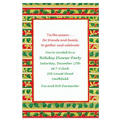 Stripes with Holly & Mistletoe Custom Christmas Invitation