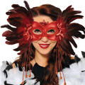 Red Fantasy Venetian Feather Mardi Gras Mask