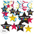 Multicolor Graduation Swirl Decorations 30ct