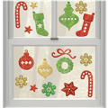 Christmas Icons Glitter Gel Clings 17ct