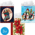 Medium Holiday Fun Gift Bags 7in 3ct