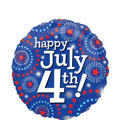 Foil Dots Happy July 4th Patriotic Balloon 18in