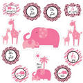 Pink Safari Baby Shower Cutouts 12ct