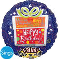Foil Present Happy Birthday Singing Balloon 28in