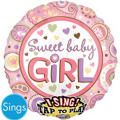 Foil Sweet Baby Girl Singing Balloon 28in