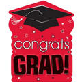 Red Congrats Grad Cutout 15in