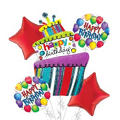 Happy Birthday Balloon Bouquet 5pc - Fun Happy Birthday