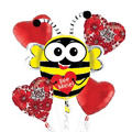 Foil Bee Mine Valentines Day Balloon Bouquet 5pc