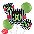 30th Birthday Balloon Bouquet - Giant Chevron