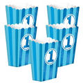 Blue Striped 1st Birthday Popcorn Boxes 5ct