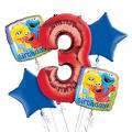 Sesame Street 3rd Birthday Balloon Bouquet 5pc