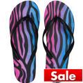 Neon Zebra Flip Flops