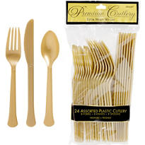 Gold Premium Plastic Cutlery Set 24ct